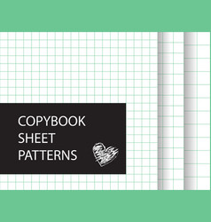 Copybook sheet pattern set squared paper vector