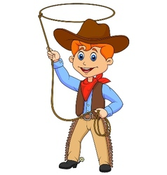 Cowboy kid cartoon twirling a lasso vector