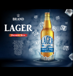 Craft lager beer ads with splashing realistic vector