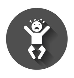 Crying baby icon anger emotions child flat on vector