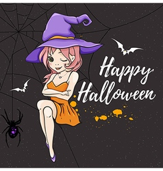 Cute young witch on a black background vector image