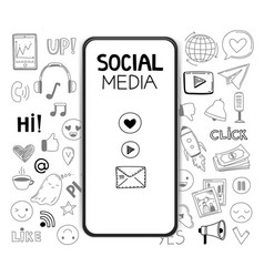 doodle social media icons realistic smartphone vector image