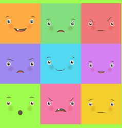 Emotion flat set cute square faces vector