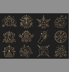 esoteric symbols thin line geometric badge vector image