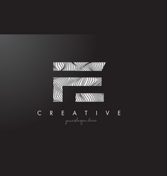 Fe f e letter logo with zebra lines texture vector