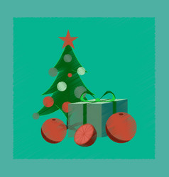 Flat shading style icon christmas tree orange gift vector