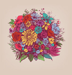 Floral bouquet round floral arrangement vector