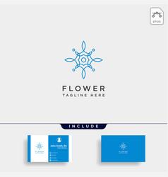 Flower floral line beauty premium simple logo vector