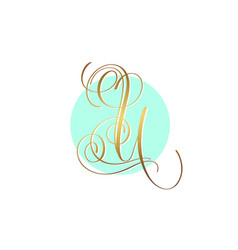 Gold calligraphy letter u on circle blue vector