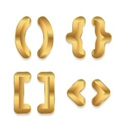 Golden alphabet Set of metallic 3d punctuation vector