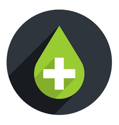 green drop icon first aid sign vector image