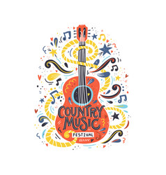 guitar country music vector image