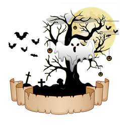 Halloween banner with ghost pumpkin hung tree ba vector