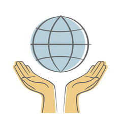 hand holding earth save earth concept vector image