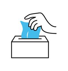hand with tissues box icon half color half line vector image