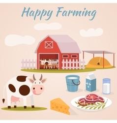 Happy farming - cow farm dairy cattle vector