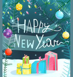 happy new year hand drawn sign vector image