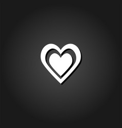 heart in heart icon flat vector image