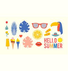 hello summer vintage season collection for vector image