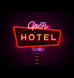 hotel sign buib and neon vector image