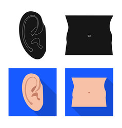 Human and part icon set of vector