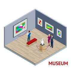 isometric museum interior or art gallery concept vector image