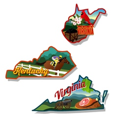 Kentucky virginia west virginia retro vector