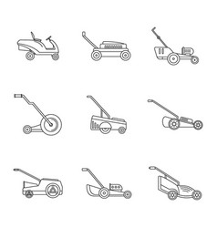 Lawnmower grass garden icons set outline style vector