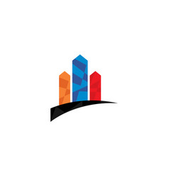 low poly real estate building logo design concept vector image