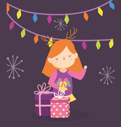 Merry christmas little girl with gift boxes lights vector