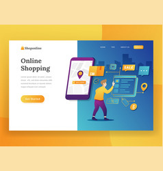modern flat design concept of online shopping for vector image