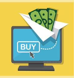 money transfers via the internet vector image