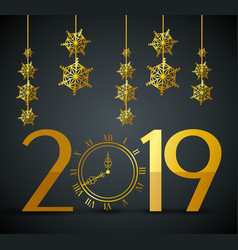 New 2019 year with flakes hangings vector