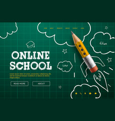 online school digital internet tutorials and vector image