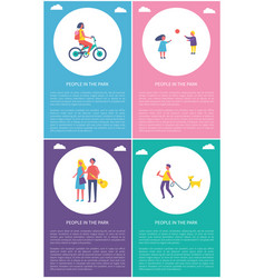 people in park having fun cartoon posters set vector image