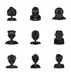 People of different profession set icons in black vector image
