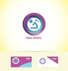 Real estate circle house logo vector image