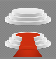 realistic pedestal set - 3d pedestal with red vector image
