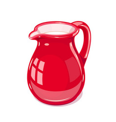 Red ceramic jug with milk vector
