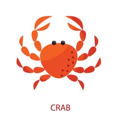 Red crab cartoon icon vector