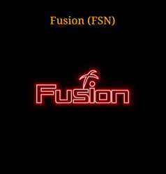Red neon fusion fsn cryptocurrency symbol vector