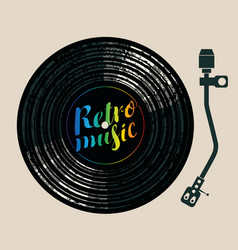 Retro music poster with vinyl record and turntable vector