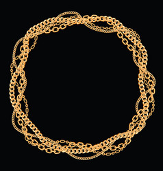 round frame made with twisted golden chains on vector image