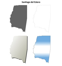 Santiago del estero blank outline map set vector