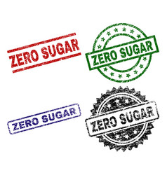 scratched textured zero sugar seal stamps vector image