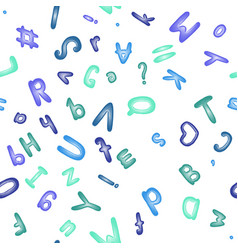 seamless pattern with blue alphabet cute abc vector image