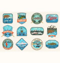 set fishing patch concept for shirt or vector image