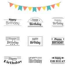 set happy birthday greeting cards birthday vector image