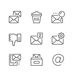 set line icons of mail vector image
