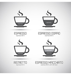 Set of coffee cups with a description of the type vector image